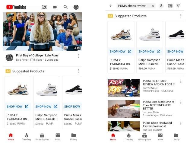 YouTube shopping ads