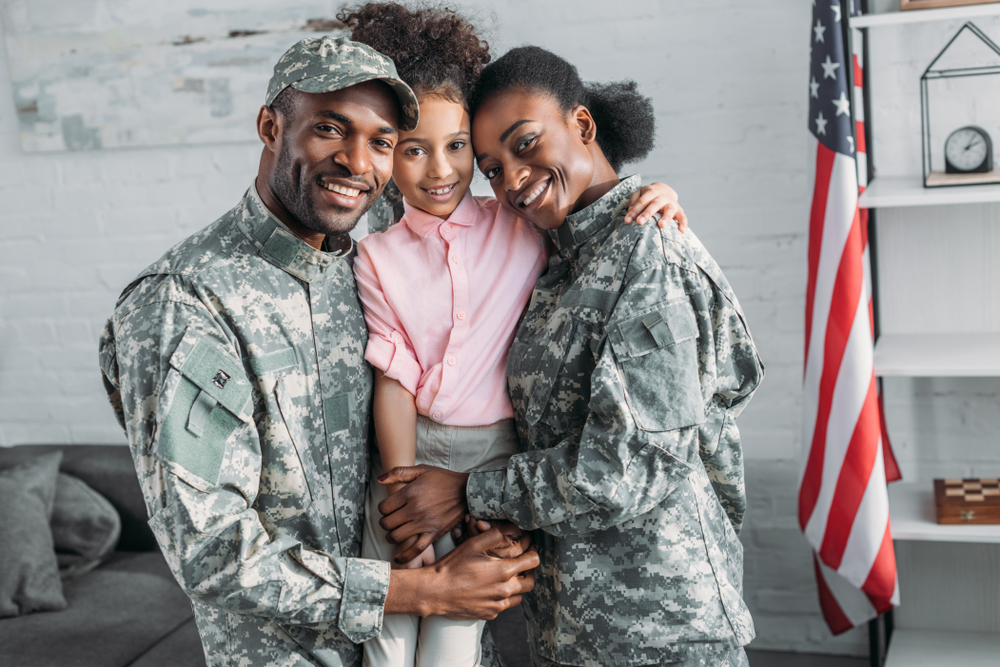 veteran parents with child