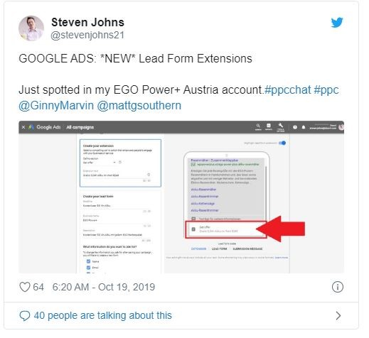 Tweet from steven johns about google ads new lead form extensions
