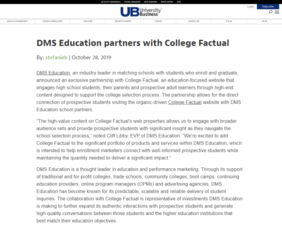 University Business DMS Education partners with College Factual