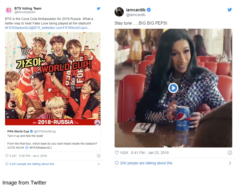 BTS Voting Team and Cardi B Twitter posts promoting Pepsi