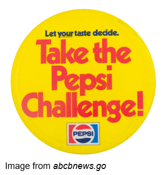 Let your taste decide. Take the Pepsi challenge! Image from abcbnews.go