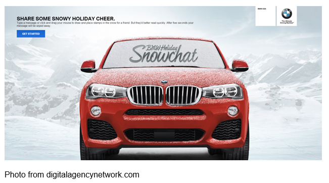BMW ad Share Some Snowy Holiday Cheer BMW Holiday Snowchat