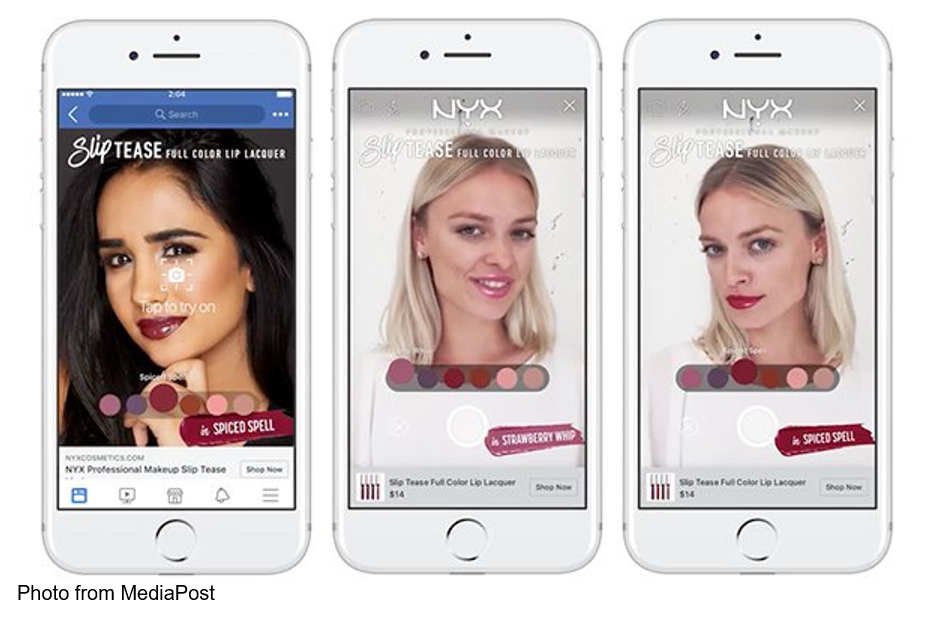 L'Oréal purchased Modiface, an augmented-reality (AR) service offering to virtually try makeup and hair products.Three phone screens demonstrating AR experience.