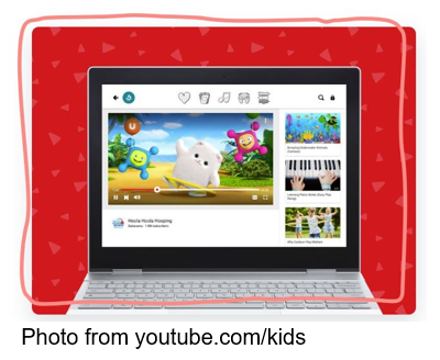 YouTube Kids shown on laptop photo from youtube.com/kids