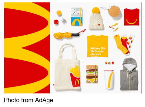 Image from AdAge McDonald's branded merchandise online shop, Golden Arches Unlimited