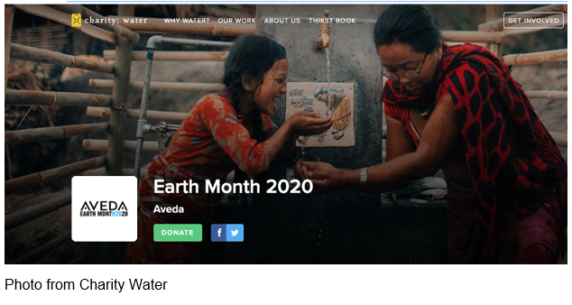 Aveda earth month donation page on charity water website
