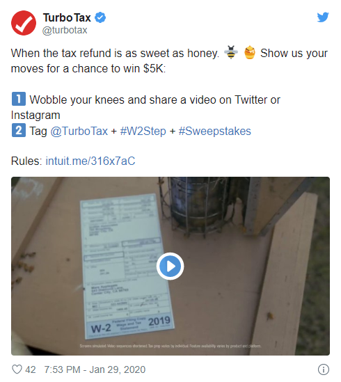 Turbo Tax hashtag challenge post to create a dancing video