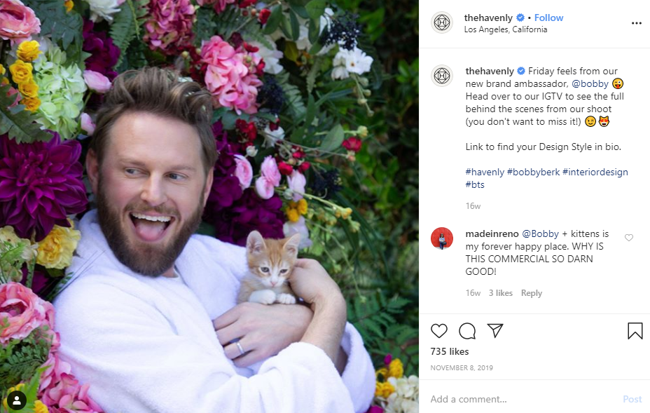 Havenly instagram post mad holding cat surrounded by flowers