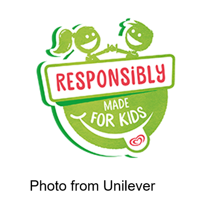 Responsibly Made for kids sign two kids high fiving from unilever