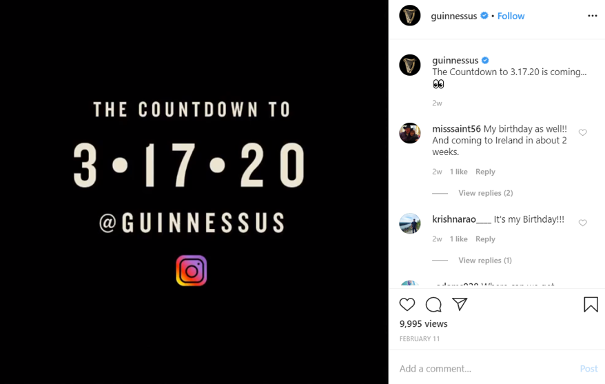 Count down to 3/17/20 posted by Guinness on Instagram