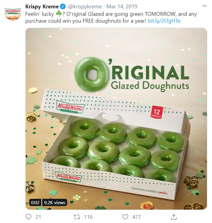 Feeling lucky? Green donuts in a Krispy Kreme box from twitter
