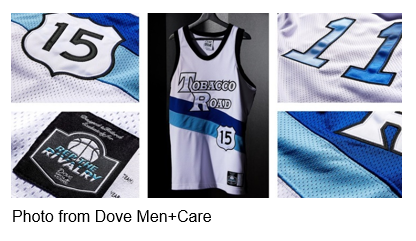 Tobacco Rond Rep the Rivalry Jersey 15 white with one dark blue stripe and one light blue stripe photo from Dove Men+Care