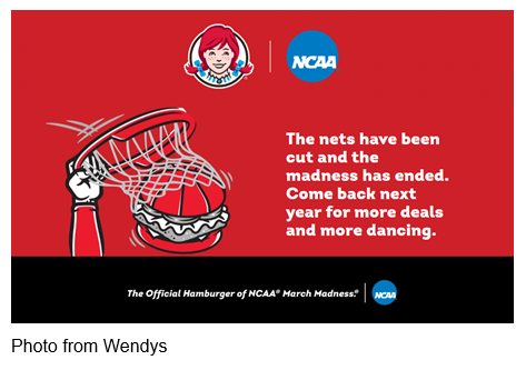 Cartoon basketball hoop with note that Wendys is the official hamburger of NCAA March Madness Photo from Wendys