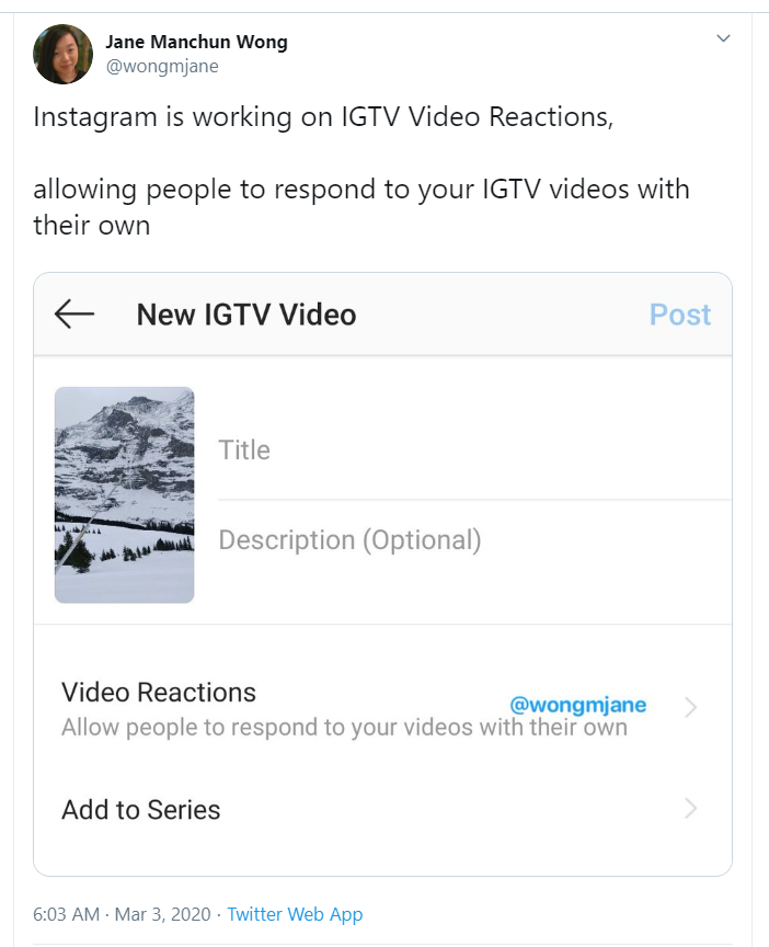 Jane Manchun Wong tweeted that Instagram is working on a new video reactions feature photo from Twitter