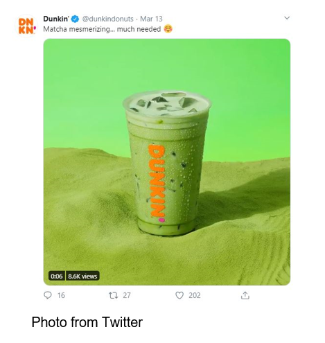 Dunkin Matcha Mesmerizing Latte Photo from Twitter