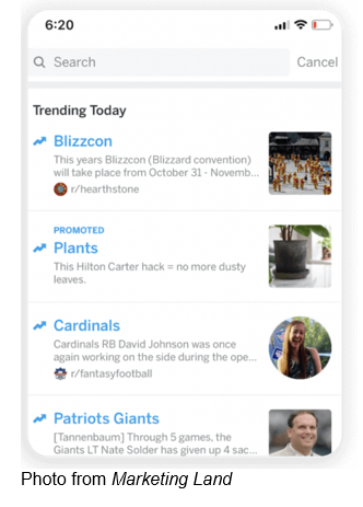 Trending today Blizzcon, Promoted Plants, Cardinals, Patriots Giants. Photo from Marketing Land.