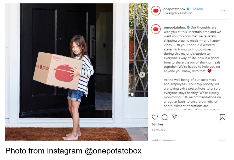 Girl holding One Potato Box meal kit Photo from Instagram