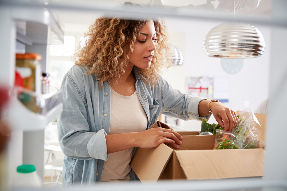 Shutterstock_1459827464  View Looking Out From Inside Of Refrigerator As Woman Unpacks Online Home Food Delivery