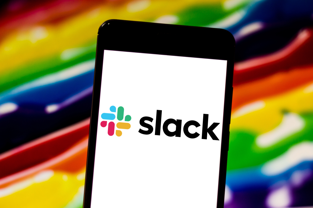 Shutterstock_1384319786  April 29, 2019, Brazil. In this photo illustration the Slack logo is displayed on the screen of the mobile device.