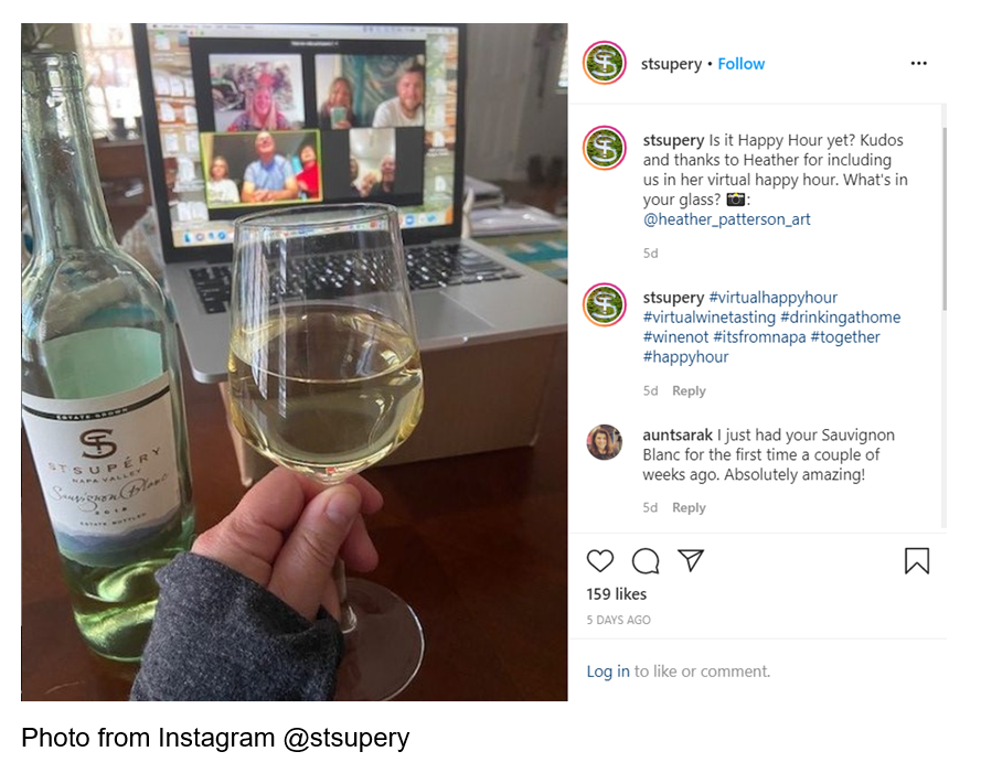 Instagram_Happy Hour yet? Post by St. Stupery advertising a virtual happy hour.
