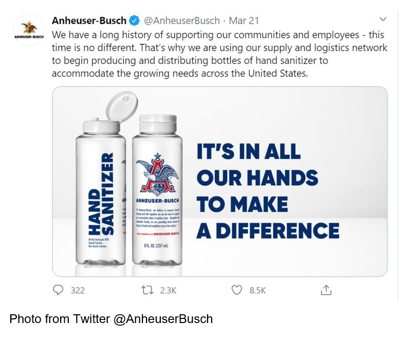 Twitter_Anheuser-Busch tweet saying we have a long history of supporting out communities and employees
