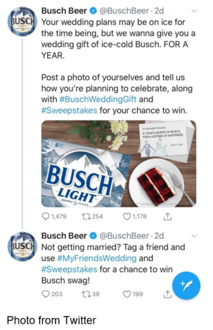 Busch Beer twitter wedding plans tweet