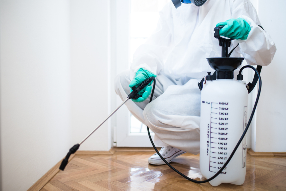 Shutterstock_1042858327 Exterminator in workwear spraying pesticide with sprayer