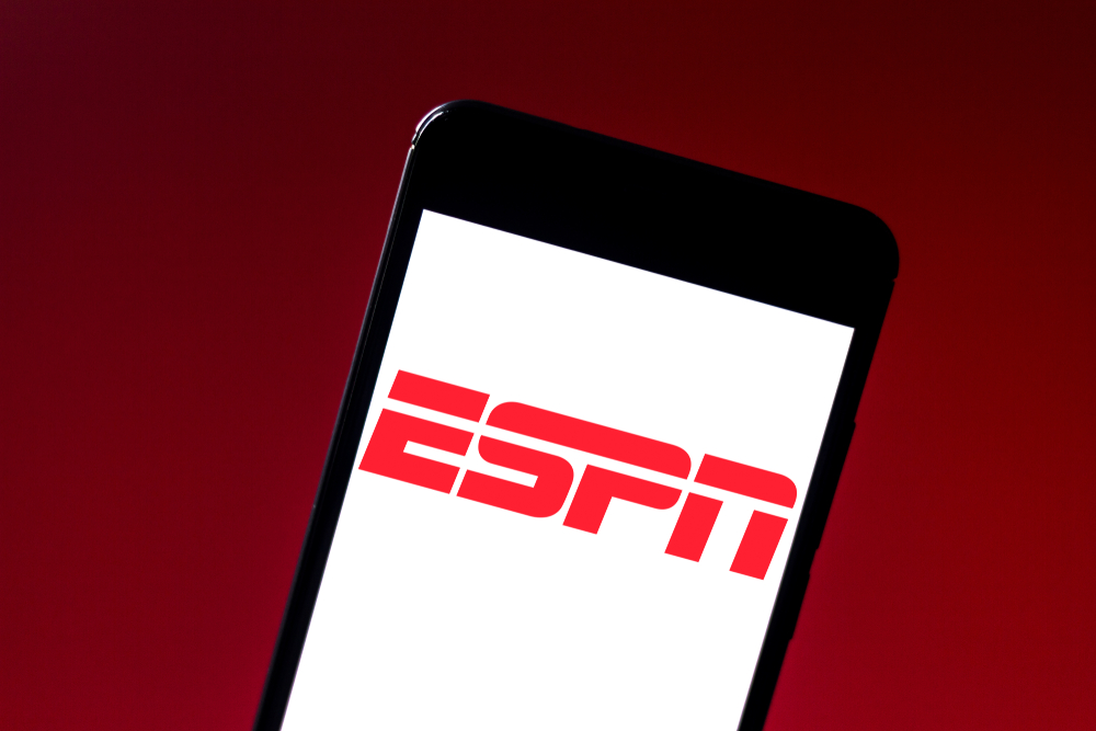 Shutterstock_1411304822 In this photo illustration the Entertainment and Sports Programming Network (ESPN) logo is displayed on a smartphone.