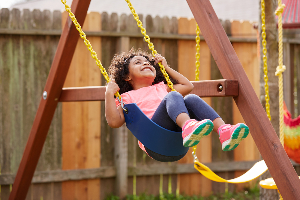 Shutterstock_442062718 Kid toddler girl swinging on a playground swing in the backyard latin ethnicity
