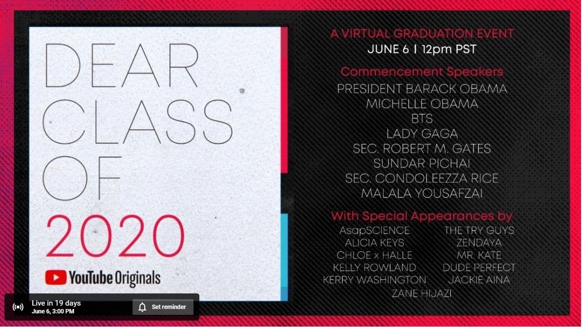 YouTube originals class of 2020 virtual graduation