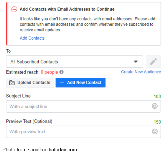facebook customized marketing emails