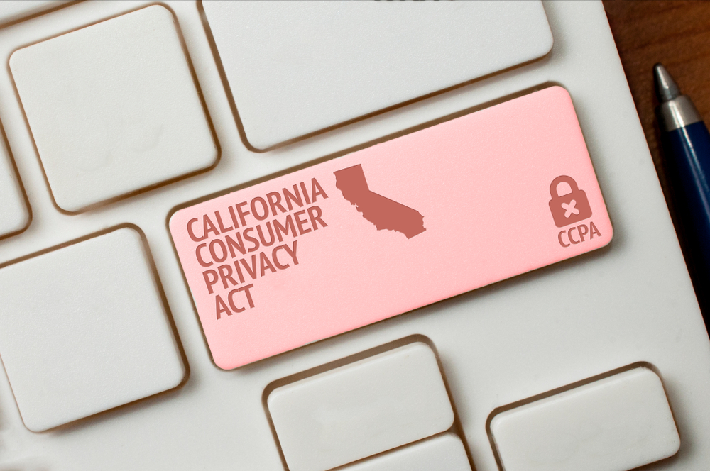Shutterstock_1590884833 CCPA concept: a white computer keyword with a lock, a California shape and the text California consumer privacy act