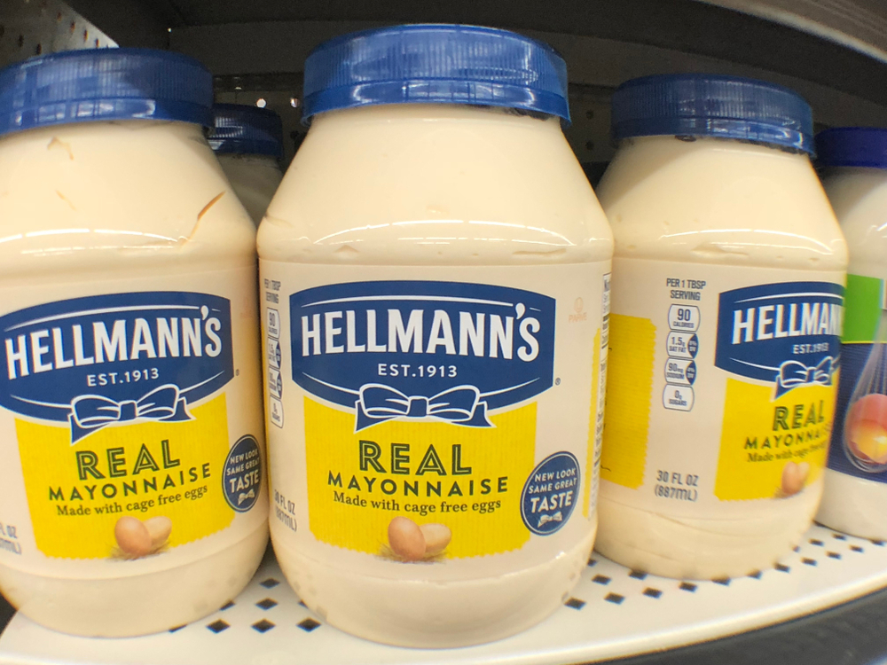 Shutterstock_1295440933  Columbus, Mississippi - January 26, 2019; Mayonnaise, Hellmann's Brand. Made with cage free eggs. A store product on sale in a general store.