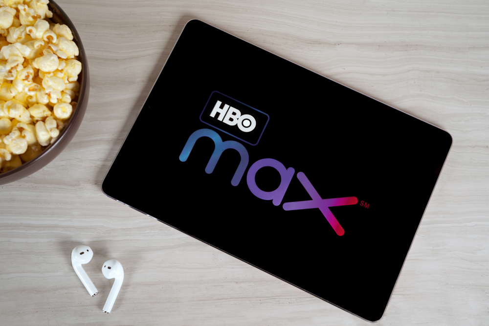 Shutterstock-1532094296 Grand Prairie, TX/USA Oct 2019: HBO Max logo on tablet screen. HBO Max is a new streaming service for watching premium video content.
