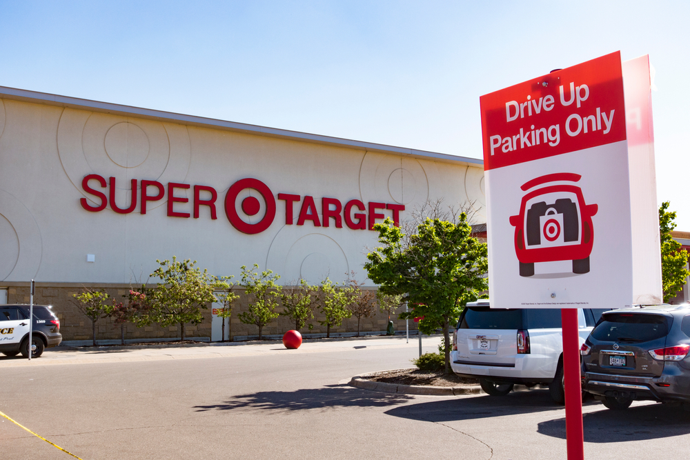 Shutterstock _ ID:1737617189 Drive up parking area at Super Target stores has become very popular for picking up goods outside during COVID-19 pandemic.