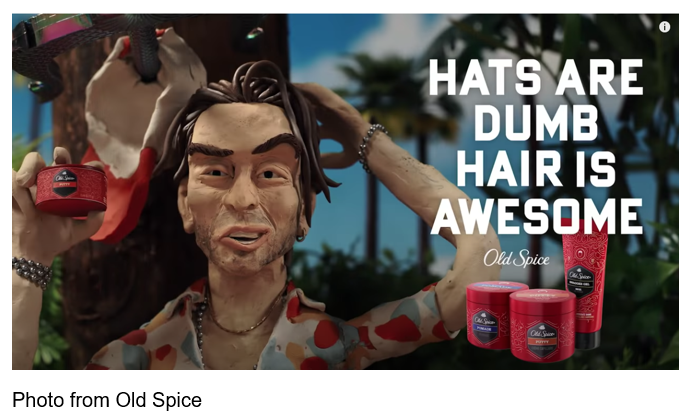 old spice hats are dumb hair is awesome