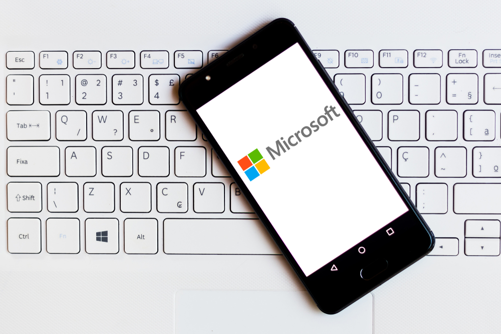 Shutterstock_1402377221 May 19, 2019, Brazil. In this photo illustration the Microsoft Corporation logo is displayed on a smartphone.