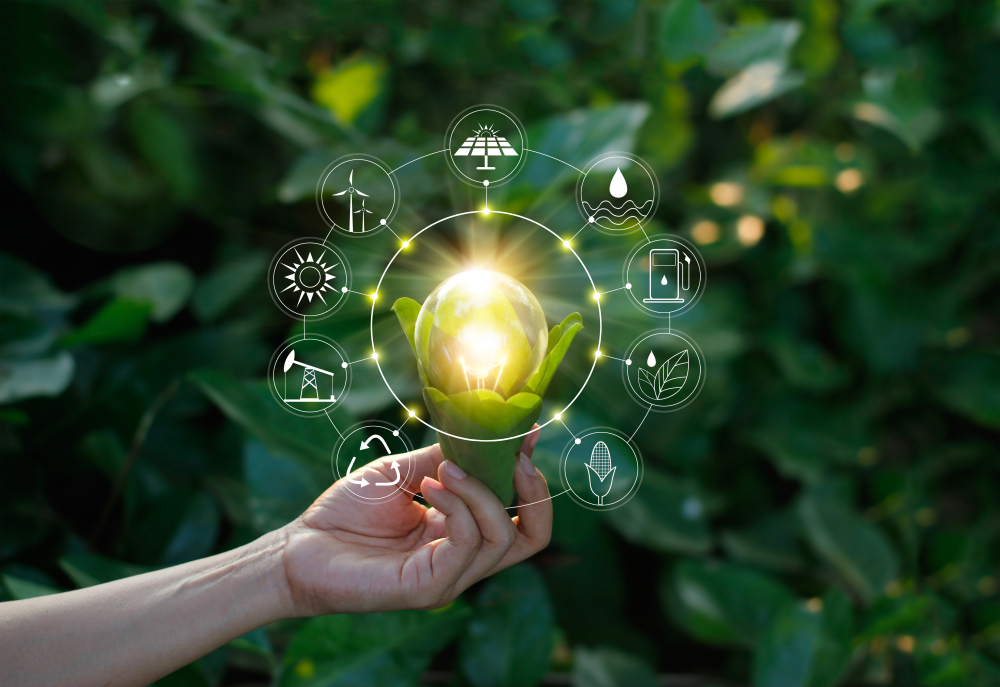 Shutterstock_767486674 Hand holding light bulb against nature on green leaf with icons energy sources for renewable, sustainable development. Ecology concept. Elements of this image furnished by NASA.