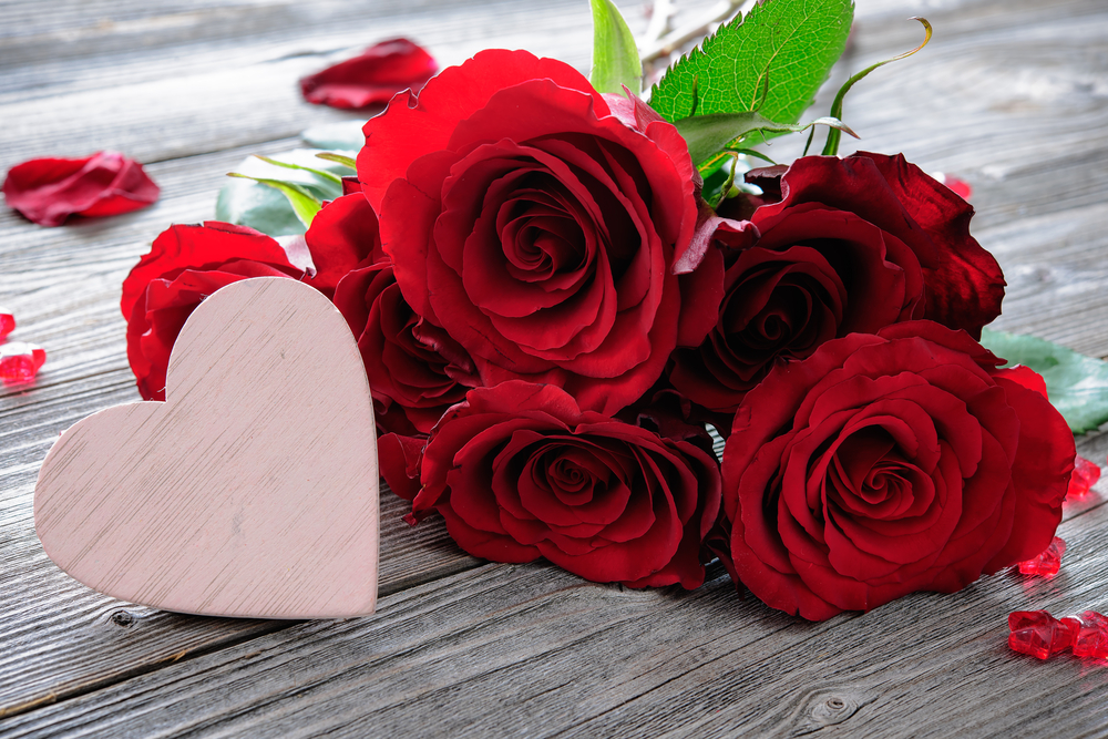 Shutterstock_362450165 Red roses and heart on wooden planks. Valentines day background