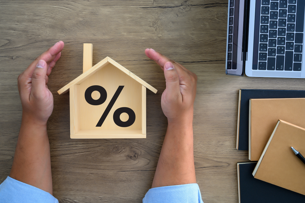 Shutterstock_1451895731 Mortgage rates business concept of investment housing real estate interest rates 3d home appraisal