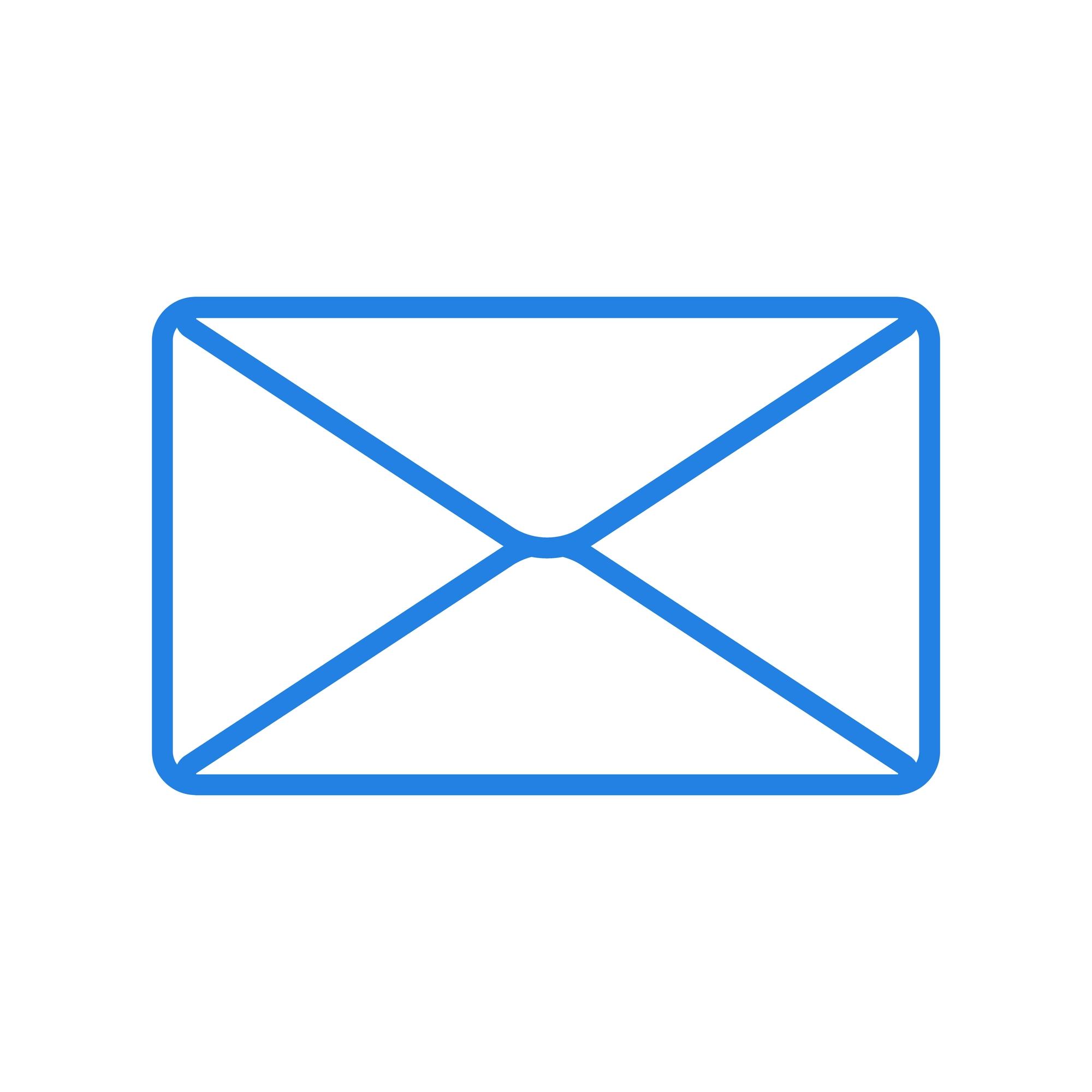 Shutterstock-1987193948 Blue envelope icon. On white background. Vector.