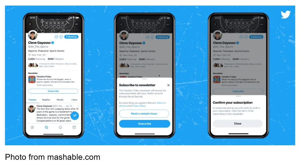 Newsletter Subscribe Button From Twitter