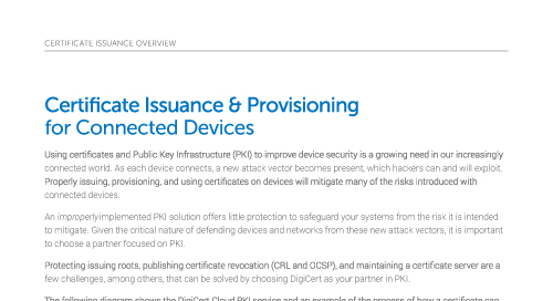 Certificate Issuance & Provisioning for Connected Devices