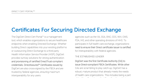 Direct Cert Portal & Certificates for Secure Directed Exchange