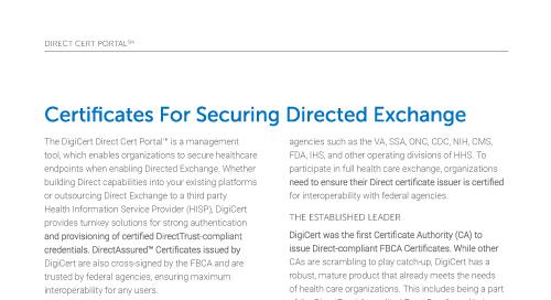 Direct Cert Portal & Certificates for Secure Directed Exchange