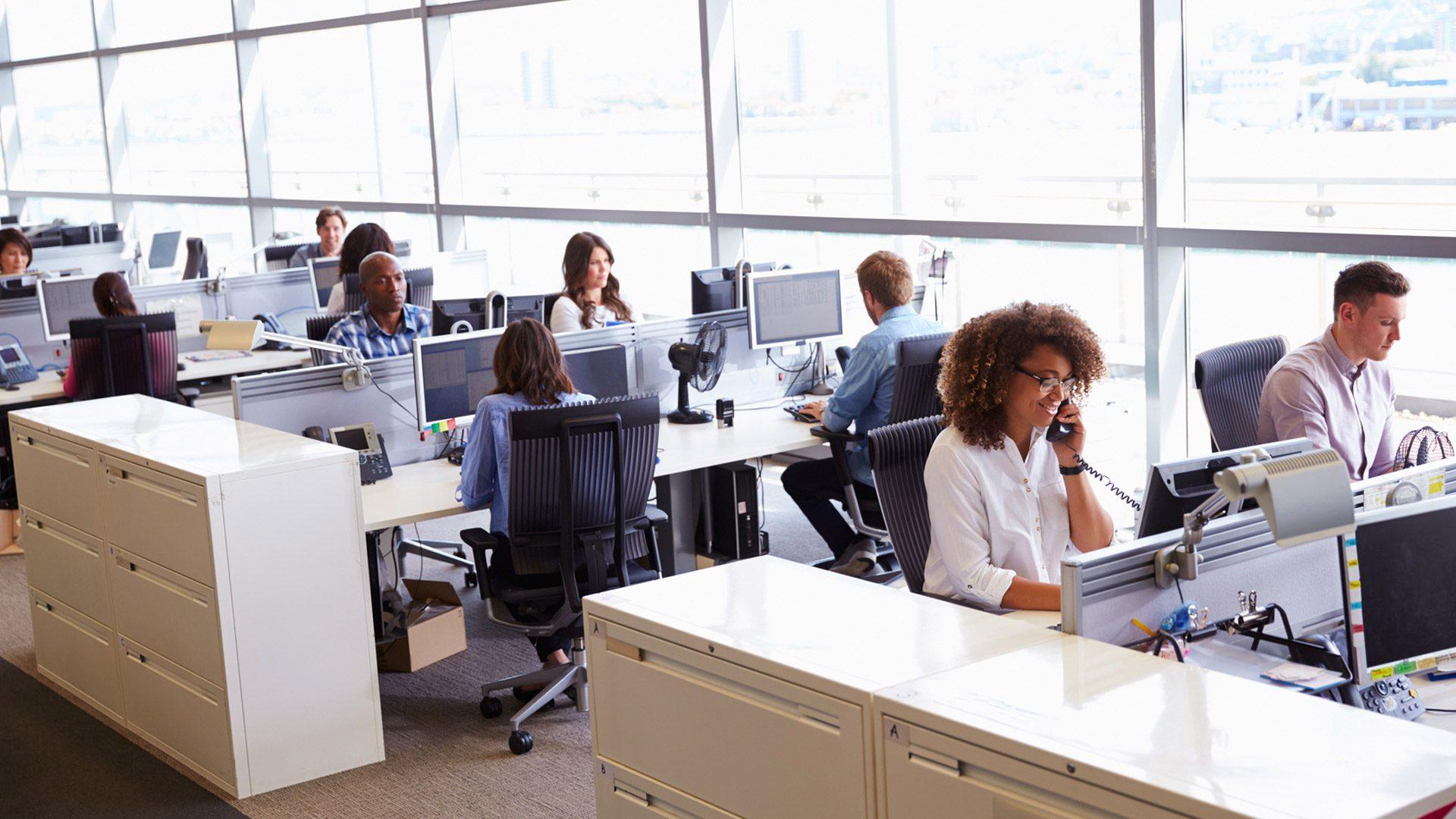 working behaviour in open plan office space