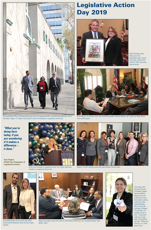 A photo spread of ACSA Legislative Action Day 2019 showing members around the State Capitol.