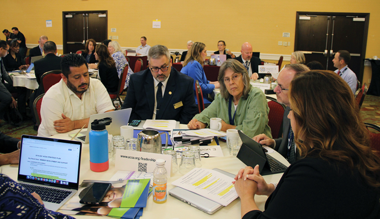 Leaders from Region 3 participate in a table discussion at ACSA's May Leadership Assembly.