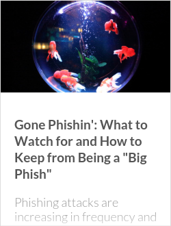 "Gone Phishin': What to Watch for and How to Keep from Being a ""Big Phish"""